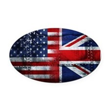 UK USA FLAG Oval Car Magnet