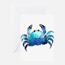 Mosaic Polygon Blue Crab Greeting Cards