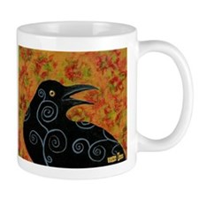 Crow with blue spirals Mugs