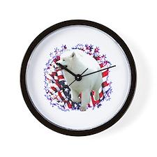 Samoyed Patriotic Wall Clock