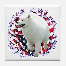 Samoyed Patriotic Tile Coaster