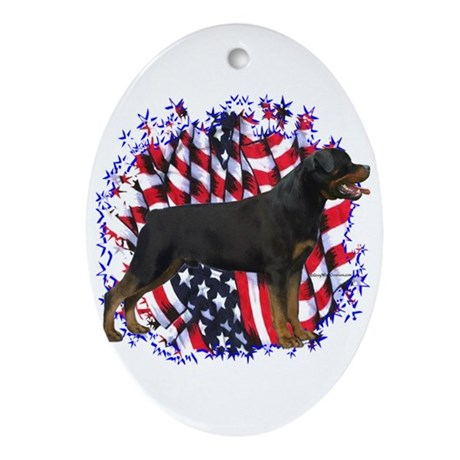 Rottweiler Patriotic Oval Ornament