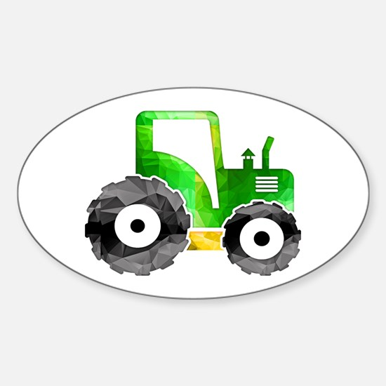 Polygon Mosaic Green Yellow Tractor Decal
