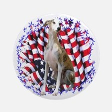 Whippet Patriotic Ornament (Round)