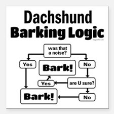 "Dachshund Logic Square Car Magnet 3"" x 3"""