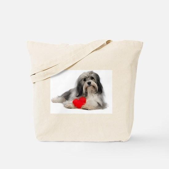 Lover Valentine Havanese Boy Dog Tote Bag