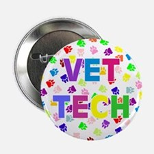 "Vet Tech W/paws 2.25"" Button"