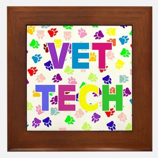 Vet Tech W/Paws Framed Tile