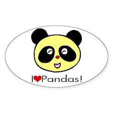 I Love Pandas! Oval Decal