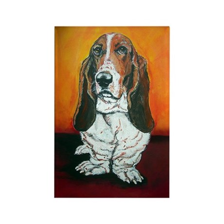 Basset Hound Portrait Rectangle Magnet