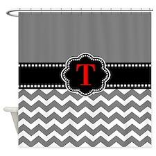 Gray Black Chevron Personalized Shower Curtain