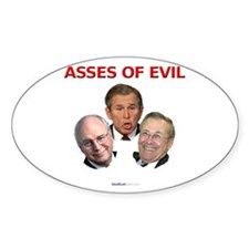 """""""Asses of Evil"""" Oval Decal"""
