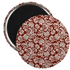Cream and Scarlet Red Damask Magnets