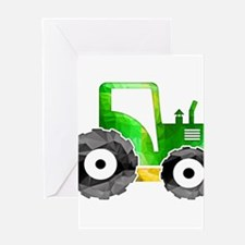 Polygon Mosaic Green Yellow Tractor Greeting Cards