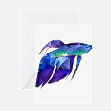 Beta Fish for Polygon Mosaic Blue Purple Greeting