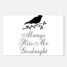 Always Kiss Me Goodnight Black Bird Postcards (Pac