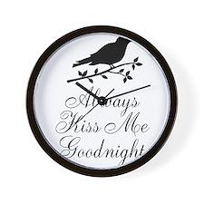 Always Kiss Me Goodnight Black Bird Wall Clock