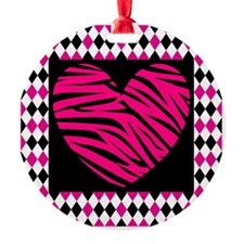 Pink Heart Zebra on Diamonds Ornament