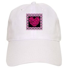 Pink Heart Zebra on Diamonds Baseball Baseball Cap