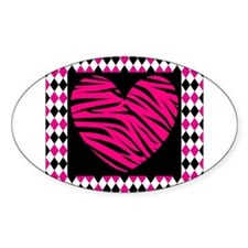 Pink Heart Zebra on Diamonds Decal