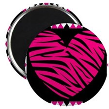 Pink Heart Zebra on Diamonds Magnets