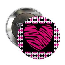 "Pink Heart Zebra on Diamonds 2.25"" Button"