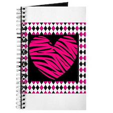 Pink Heart Zebra on Diamonds Journal