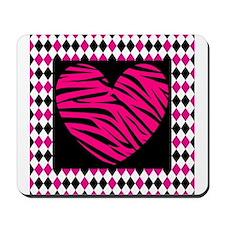 Pink Heart Zebra on Diamonds Mousepad