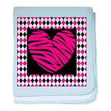 Pink Heart Zebra on Diamonds baby blanket
