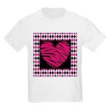 Pink Heart Zebra on Diamonds T-Shirt