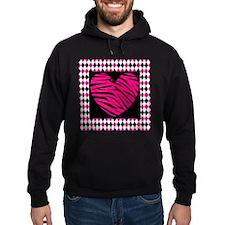Pink Heart Zebra on Diamonds Hoodie