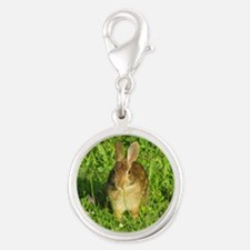 Rabbit Eating Weeds Silver Round Charm