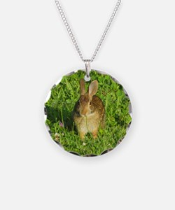 Rabbit Eating Weeds Necklace