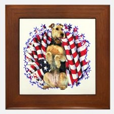 Airedale Patriotic Framed Tile