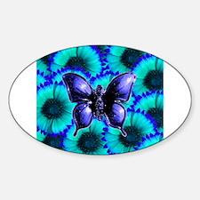Purple Butterfly on Blue Purple Flowers Decal