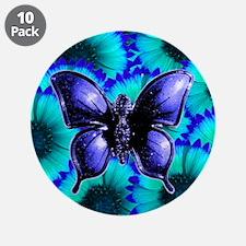 """Purple Butterfly on Blue Purple Flowers 3.5"""" Butto"""