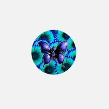 Purple Butterfly on Blue Purple Flowers Mini Butto