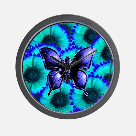 Purple Butterfly on Blue Purple Flowers Wall Clock