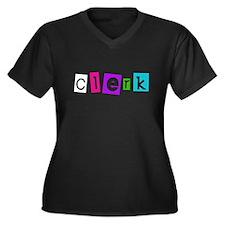 Clerk Women's Plus Size V-Neck Dark T-Shirt