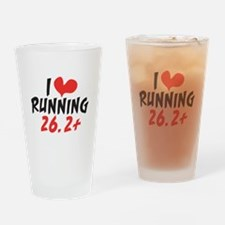 I heart running 26.2+ Drinking Glass