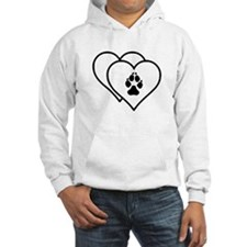 Two Hearts Love Animals Logo Hoodie Sweatshirt
