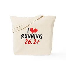 I heart running 26.2+ Tote Bag