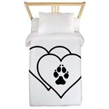 Two Hearts Love Animals Logo Twin Duvet