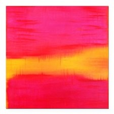"rothko pink & yellow on red Square Car Magnet 3"" x"
