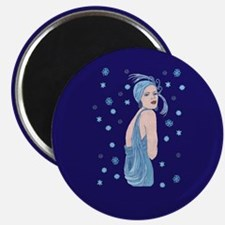 blue flapper christmas Magnets