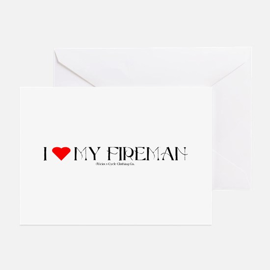 FIREMAN1A_BLK1 Greeting Cards (Pk of 10)