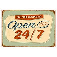 Vintage tin sign - Open 24/7 sign - Raster