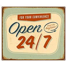 Vintage tin sign - Open 24/7 sign - Raster Poster