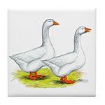 Embden Geese Tile Coaster