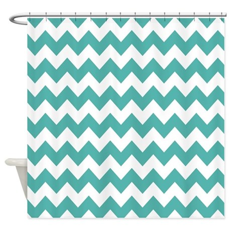 Chevron Teal White Shower Curtain By Mainstreethomewares